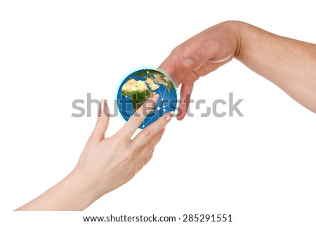 Woman gives a man planet Earth against white background. Elements of this image furnished by NASA