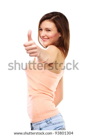 Woman gives thumb up against white background