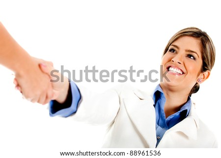 Woman giving a business handshake - isolated over a white background
