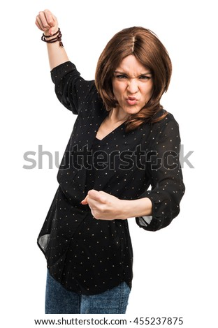 Woman giving a punch - stock photo