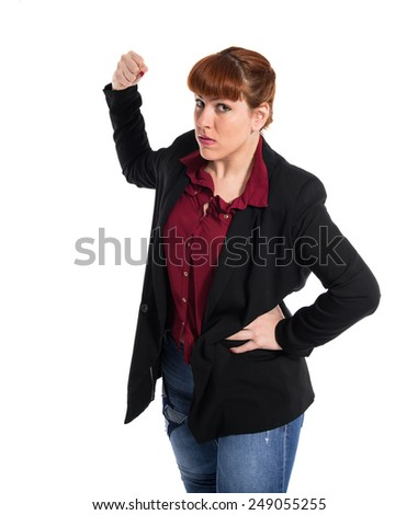 Woman giving punch