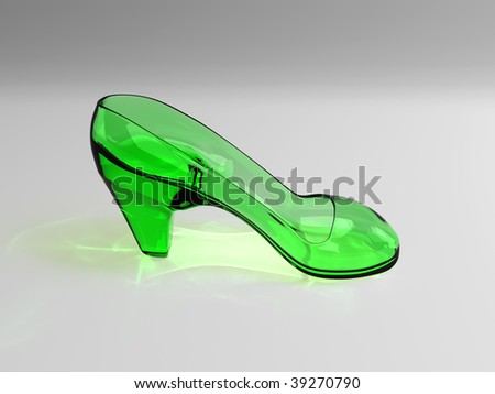 woman glass shoes - stock photo