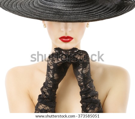 Woman Gloves Wide Brim Hat Red Lips, Girl in Black Widebrim Hat Hide Face on White - stock photo