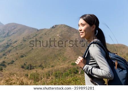 Woman go hiking - stock photo