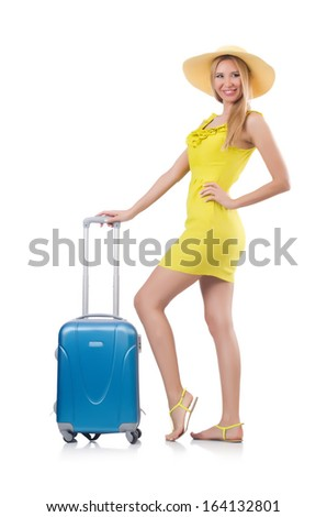 Woman going to summer vacation isolated on white