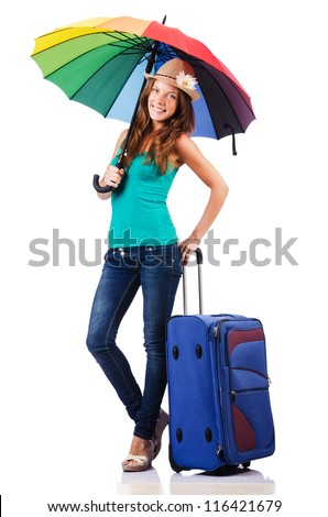 Woman going to summer vacation with suitcase - stock photo