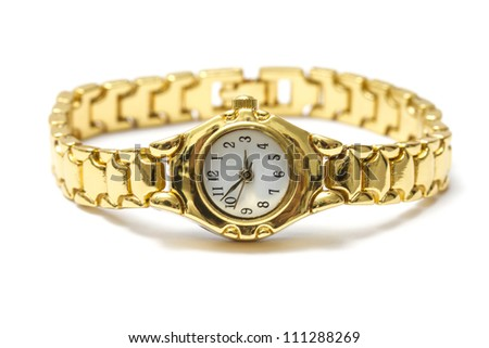 Woman golden wrist watch isolated on white background - stock photo