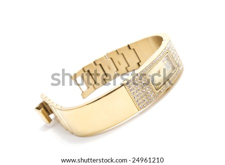 woman golden wrist watch with gems isolated on white - stock photo