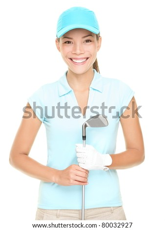 Woman golf player smiling holding golf club isolated on white background. Young mixed race Asian Caucasian female golf player - stock photo