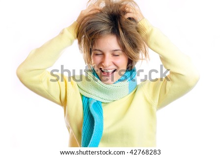 Woman grabbing her head with hands in great surprise - stock photo
