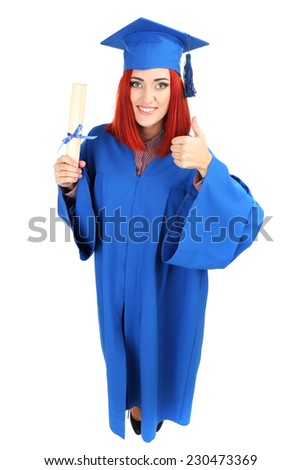 Woman graduate student wearing graduation hat and gown, isolated on white - stock photo