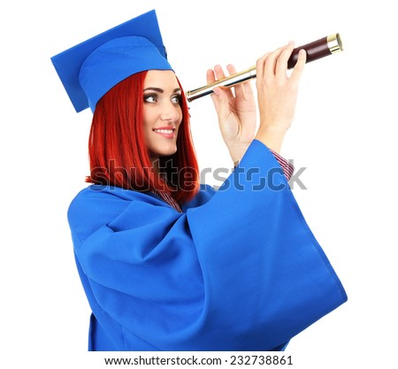 Woman graduate student with spyglass, isolated on white - stock photo
