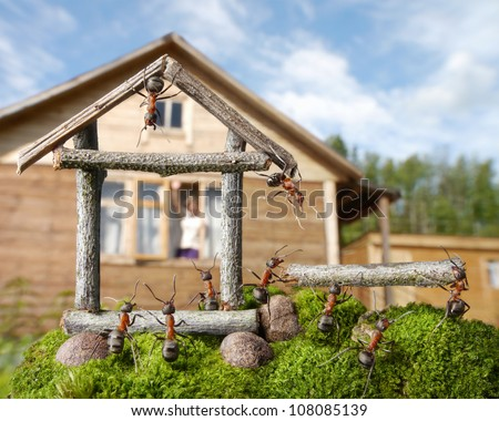 woman greetings team of ants constructing house, ant tales - stock photo