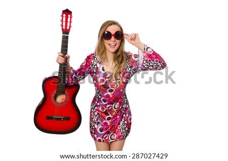 Woman guitar player isolated on white - stock photo