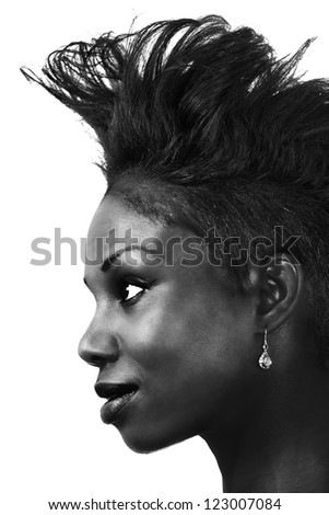 Woman hair fashion, a black and white profile
