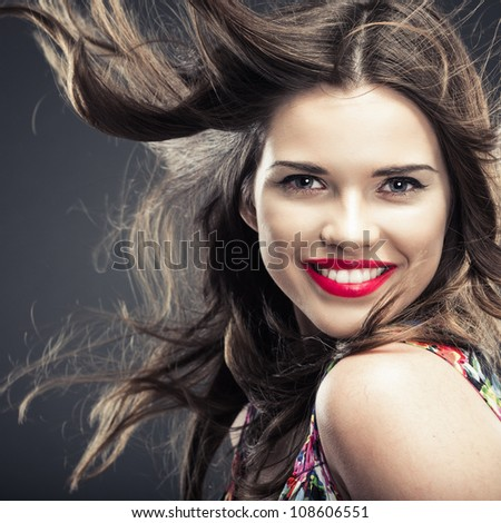 Woman hair style fashion portrait . isolated. close up female face. - stock photo