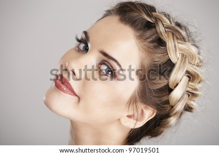Woman hair style portrait . isolated - stock photo