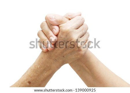 woman hand and old woman hand ,Two coupled hands isolated on white background