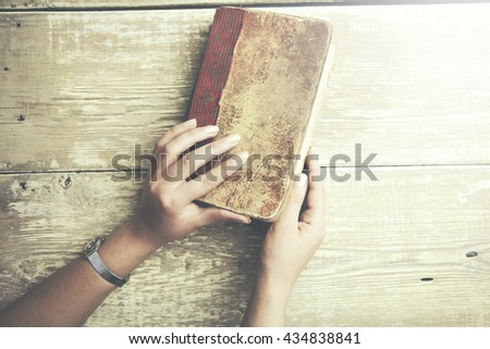 woman hand book for reading concept background