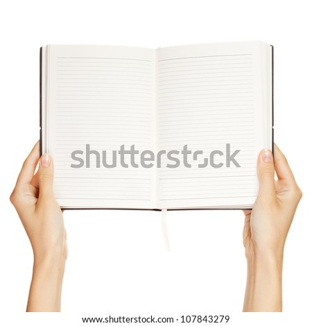 woman hand carrying an empty book isolated on white background - stock photo