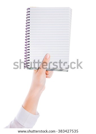 woman hand carrying an empty book isolated on white background