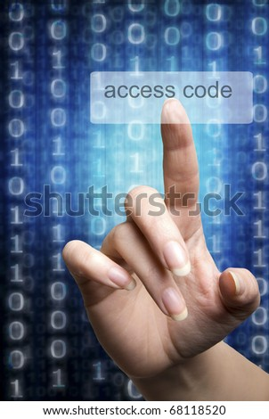 woman hand digitizing a computer access code - stock photo