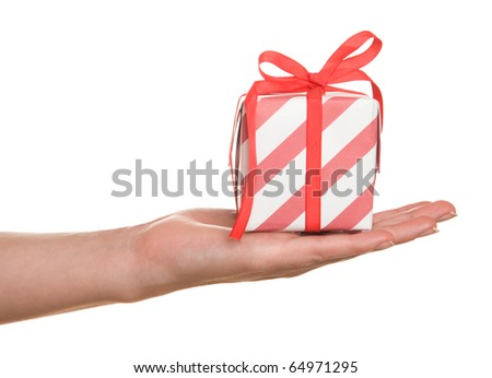 Woman hand down red present on white background