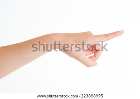 Woman hand. Gesture direction on white background