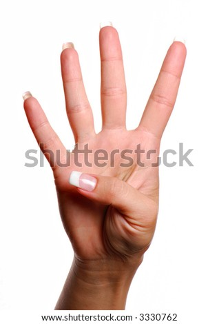 Woman hand. Gesture number four. Isolated object.