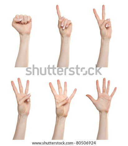 Woman hand gesture set counting numbers from zero to five - stock photo