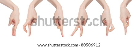 Woman hand gesture set dancing fingers isolated