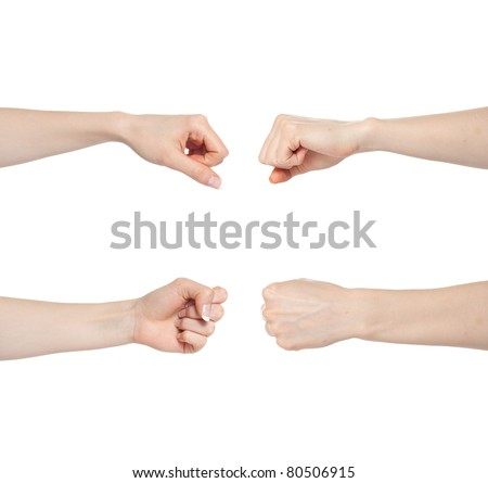 Woman hand gesture set fists isolated - stock photo