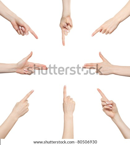 Woman hand gesture set pointing in different directions - stock photo