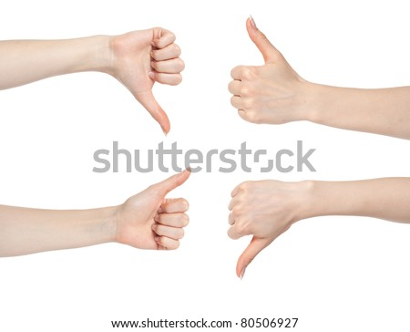 Woman hand gesture set with thumbs up and down isolated
