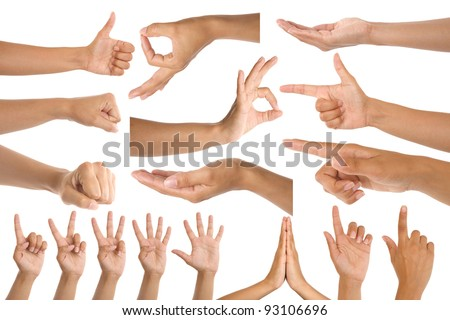 woman hand gestures isolated on white background - stock photo