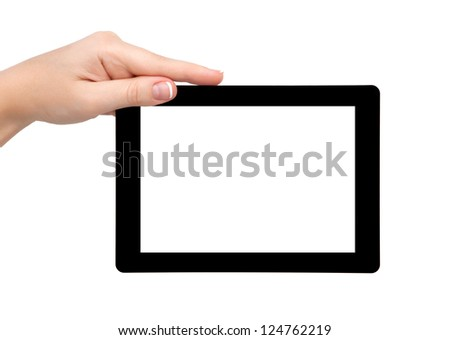 woman hand hold a tablet touch pad computer gadget with isolated screen - stock photo