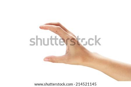 Woman hand hold card, credit, blank paper or other isolated on white background. Female hand showing empty space for your choice  - stock photo