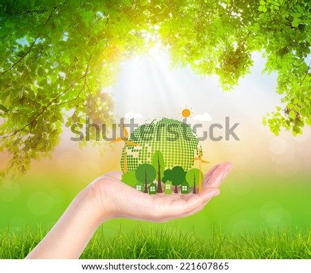 Woman hand hold eco friendly earth - stock photo