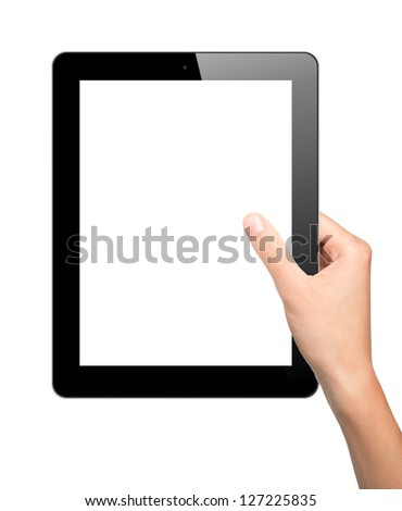 Woman hand hold tablet pc - stock photo