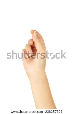 Woman hand hold virtual business card - stock photo