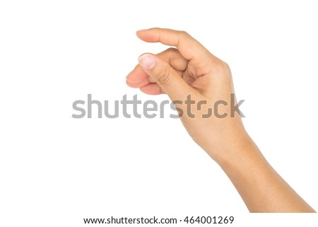 Woman hand hold virtual business card, credit card or blank paper isolated on white background.Clipping path included