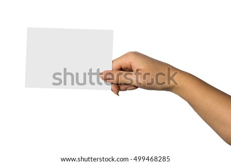 Woman Hand Hold Virtual Business Card Stock Photo 499468285