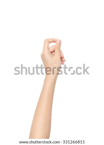 Woman hand hold virtual business card, credit card or blank paper isolated on white background with clipping path. - stock photo