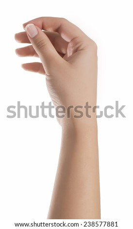 Woman hand hold virtual business card. Isolated on white - stock photo