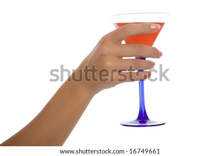 Woman hand hold wineglass with sweet cocktail