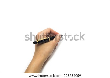 Woman hand holding a pen / A woman holding a pen on a white background./ Left Hand - stock photo