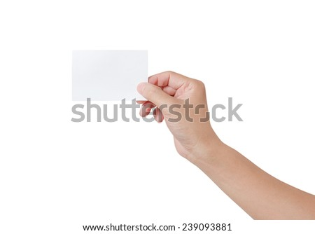 Woman hand holding a white notepaper isolated on white background - stock photo