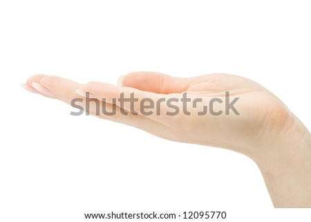 Woman hand holding anything, isolated on white background, with clipping path