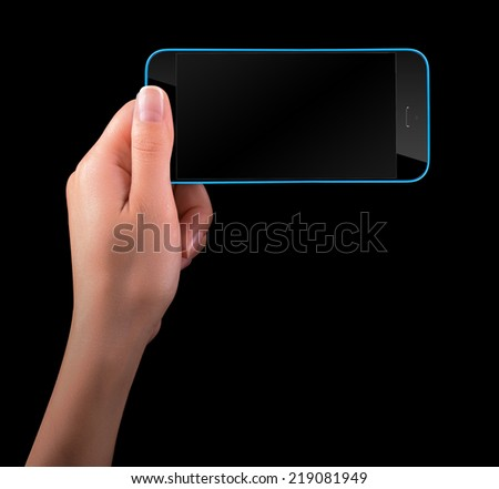 Woman hand holding Black Smartphone with blank screen