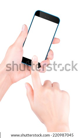 Woman hand holding Black Smartphone with blank screen - stock photo